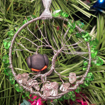 Christmas Wire Wrapped Tree Of Life Penguin Wreath Ornament Handmade OOAK