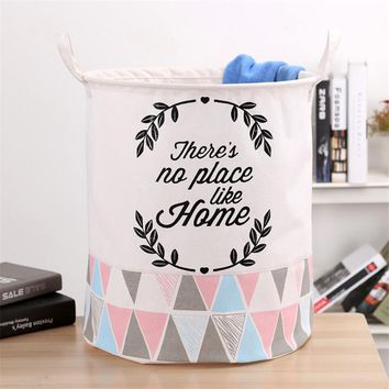 Baby Kids Toy Clothes Organizer Canvas Laundry Basket Big 40*50cm Storage Bag With Leather Handles Room Decor Free Shipping