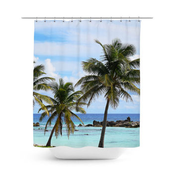 Playa Chen Rio - Shower Curtain, Beach Surf Palm Trees & Sea Decor, Blue and Green Boho Tropical Style Bath Tub Accent Vanity Curtain. 71x74