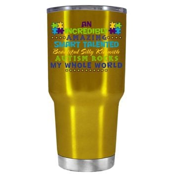 TREK An Amazing Smart Talented Kid with Autism on Translucent Gold 30 oz Tumbler Cup