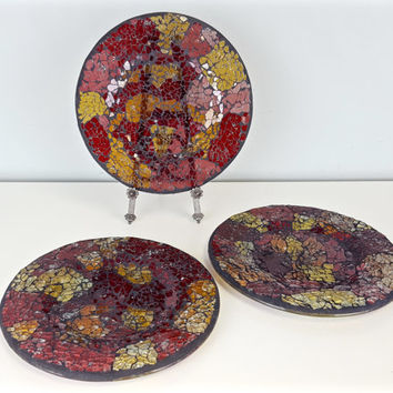 Broken Glass Mosaic Dish Red Yellow Pink Cracked Glass Mosaic Art Candle Holder Tray Key Dish Key Bowl Change Dish Spare Change Mosaic Glass