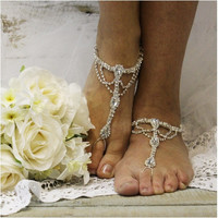 SOMETHING SPECIAL wedding  barefoot sandals - silver