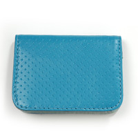 teal perforated card case by Clare V.