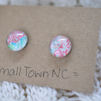 Lilly Pulitzer Inspired Let's Cha Cha: Bright Abstract Earring Studs