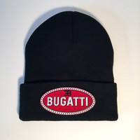 Bugatti logo limited edition black cuff knit beanie