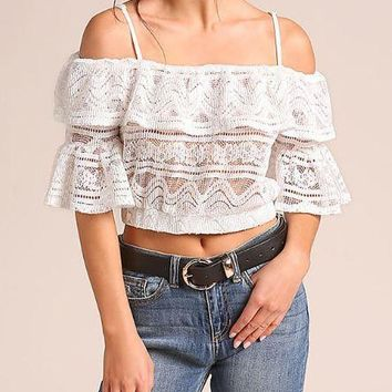 Zara Embroidered Lace Crop