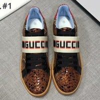 GUCCI autumn and winter new trend men's webbing letters casual sports shoes #1