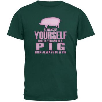 CREYCY8 Always Be Yourself Pig Forest Green Youth T-Shirt