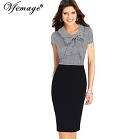 Vfemage Womens Elegant Bow Plaid Contrast Vintage Pinup Slim Casual Work Business Office Party Bodycon Pencil Sheath Dress 7205