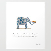 polka dot elephants serving us pie Art Print by Marc Johns