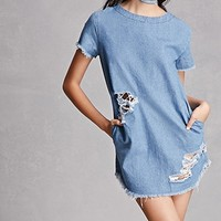 Frayed Hem Denim Shift Dress