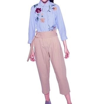 Embroidery Floral Irregular Shirts