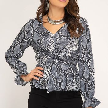 Long Sleeve Snake Skin Blouse with Front Tie - Grey