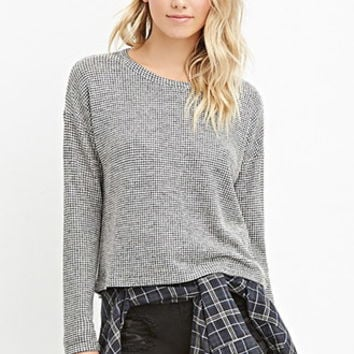 Marled Loose-Knit Grid Top