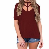 Women's Wine/Burgundy Cutout Front Short Sleeve T-Shirt Top