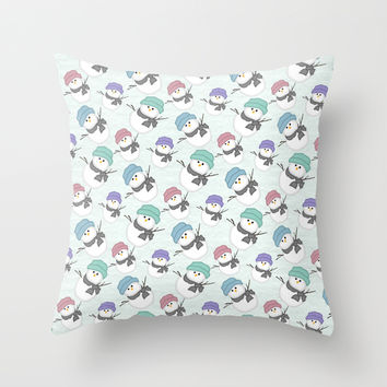 Snow People Throw Pillow by Alice Gosling | Society6
