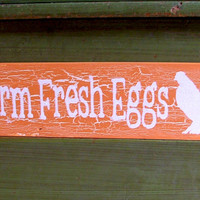 Chicken Coop Wooden Sign - Farm Fresh Eggs (Orange with Crackle Effect)