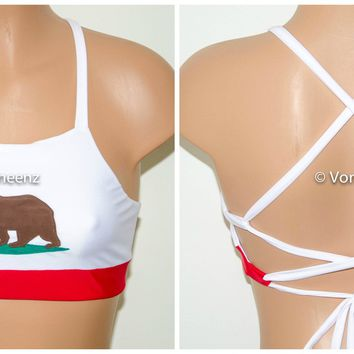 California Flag High Neck Halter Bikini Top, Criss Cross Adjustable Swimwear Bikini Top, 4Th Of July Bathing Suit, Festival Spandex Top