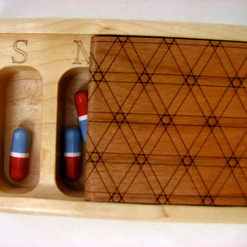 Pill/Medication Box, Vitamin Organizer, Wood Box, Paul Szewc Box by Laser Engraving, Solid Cherry Top and Solid Maple Bottom,