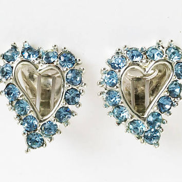 Blue Rhinestone Heart Clip Ons by Sarah Coventry, Designer Signed SC Swirling Hearts Clip On Earrings
