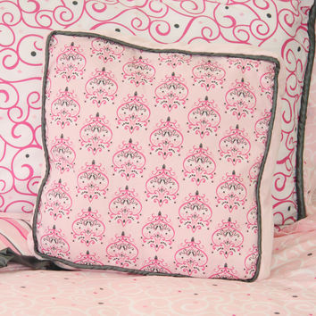 Ashlyn Damask Baby Bedding | Pink and Gray Square Pillow Cover