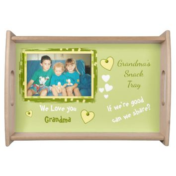 Personalized Grandma photo for snacks green Serving Tray