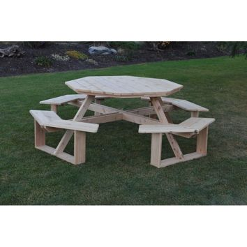 "A & L FURNITURE CO. Western Red Cedar 54"" Octagon Walk-In Table- Specify for FREE 2"" Umbrella Hole  - Ships FREE in 5-7 Business days"