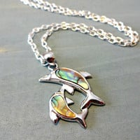 Abalone Shell Dolphin Pendant Necklace