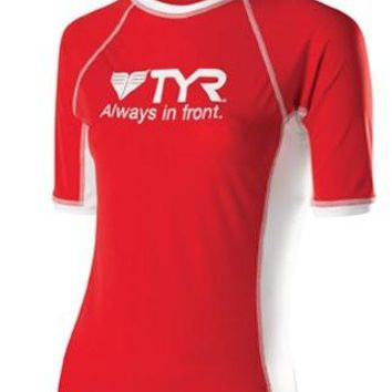 TYR Womens Short Sleeve Rashguard, Red/White