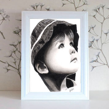 Child Pencil Portrait Drawing Original Pencil Drawing Illustration Fine Art Pencil Drawing Gift for Her