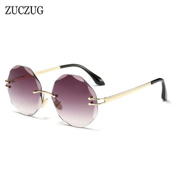 ZUCZUG Brand Rimless Sunglasses Women Fashion Design Round Sun Glasses Female Frameless Diamond Cutting Lens Eyewear UV400