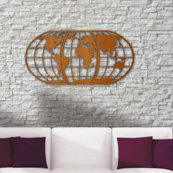 World Map Art -Huge Wood Globe Wall Hanging Huge 3D Earth World Map Decor