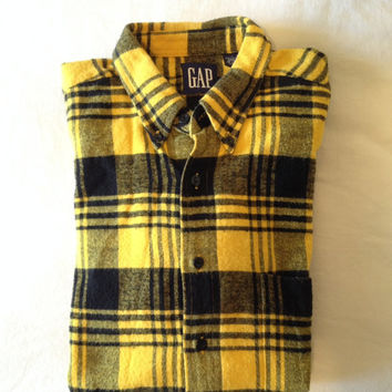 Vintage Gap Flannel Taxi Cab Yellow Buffalo Check Grunge Shirt c.1992