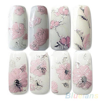 3D Nail Stickers Embossed Pink Flowers Design Nail Art Decal Tips Stickers Sheet Manicure  1OU1