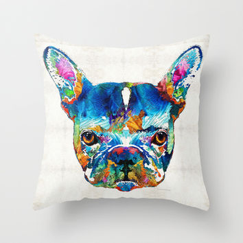Colorful French Bulldog Dog Art By Sharon Cummings Throw Pillow by Sharon Cummings