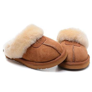UGG Fashion Women Casual Wool Slipper Shoes brown