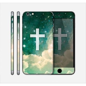 The Vector White Cross v2 over Cloudy Abstract Green Nebula Skin for the Apple iPhone 6 Plus