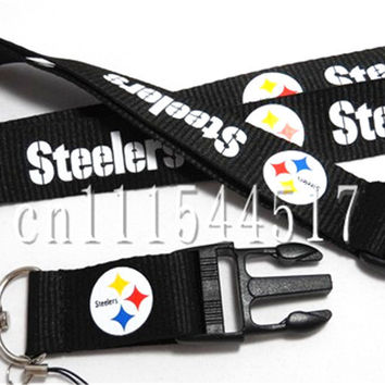 FREE SHIPPING Fans Pittsburg Steelers Football Lanyard straps balck neck keychain