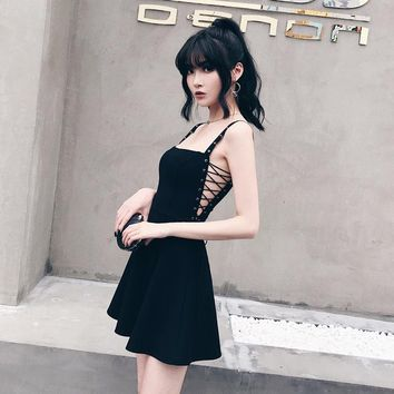Summer Dress Women Black Sexy Metal Hole Strap Sleeveless Lacing Side Hollow Out Bandages A-line Female Dress