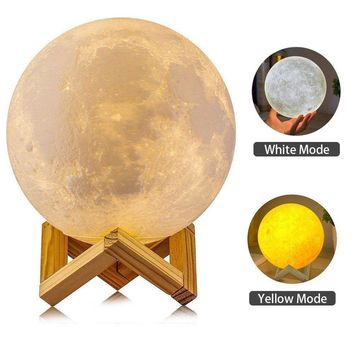LED Night Light 3D Printing Moon Lamp Dimmable Touch Control USB Charging Light Electronic