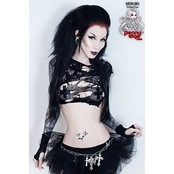 Deathrock Black Half Wig