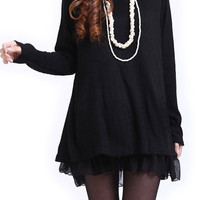 Solid Color Long Sleeve Layered Shift Dress