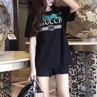 """Gucci"" Women Personality Fashion Loose Casual Tiger Letter Print Short Sleeve T-shirt Top Tee"