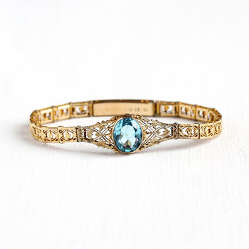 Vintage Filigree Bracelet - 12k Yellow Gold Filled Simulated Aquamarine Panel Line - Dated 1936 Art Deco Blue Glass Open Metal Jewelry