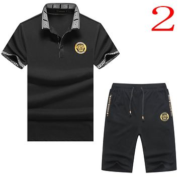 Versace Casual Men Short Sleeve V-Neck  Shirt Top Tee Shorts Set Two-Piece