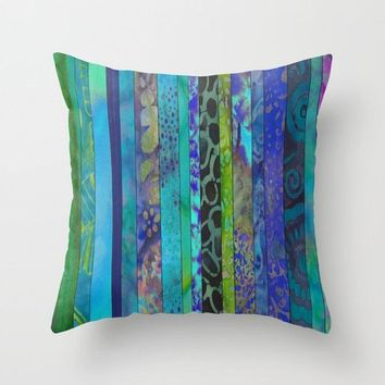 Boho Blues Throw Pillow, Batik Stripe, blue, teal,  calm jewel tones, home decor, pillows,  rectangular lumbar