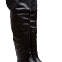 Black Faux Leather Year Round Essence Knee High Boots