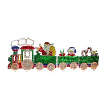 4-Piece Holographic Lighted Motion Train Set Christmas Yard Art Decoration 8.5'