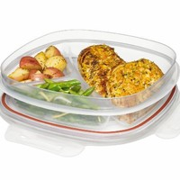 Rubbermaid  Lock-its 5-1/4-Cup Divided Food-Storage Container with Lid