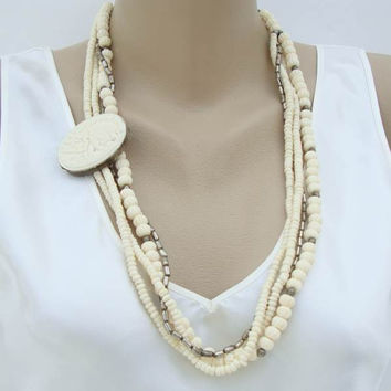 4-Strand Asymmetrical Bone Necklace Carved Elephant Pendant Vintage Figural Jewelry